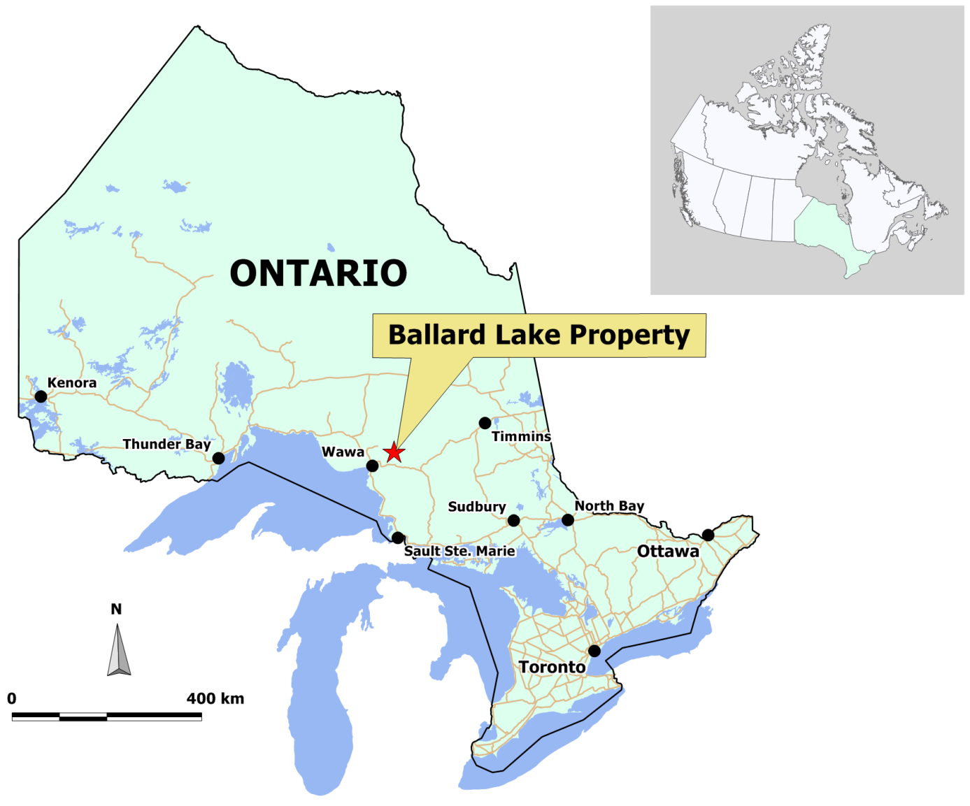 sault ste marie canada map Rt Minerals Corp Ballard Lake Property Map And Photo Gallery